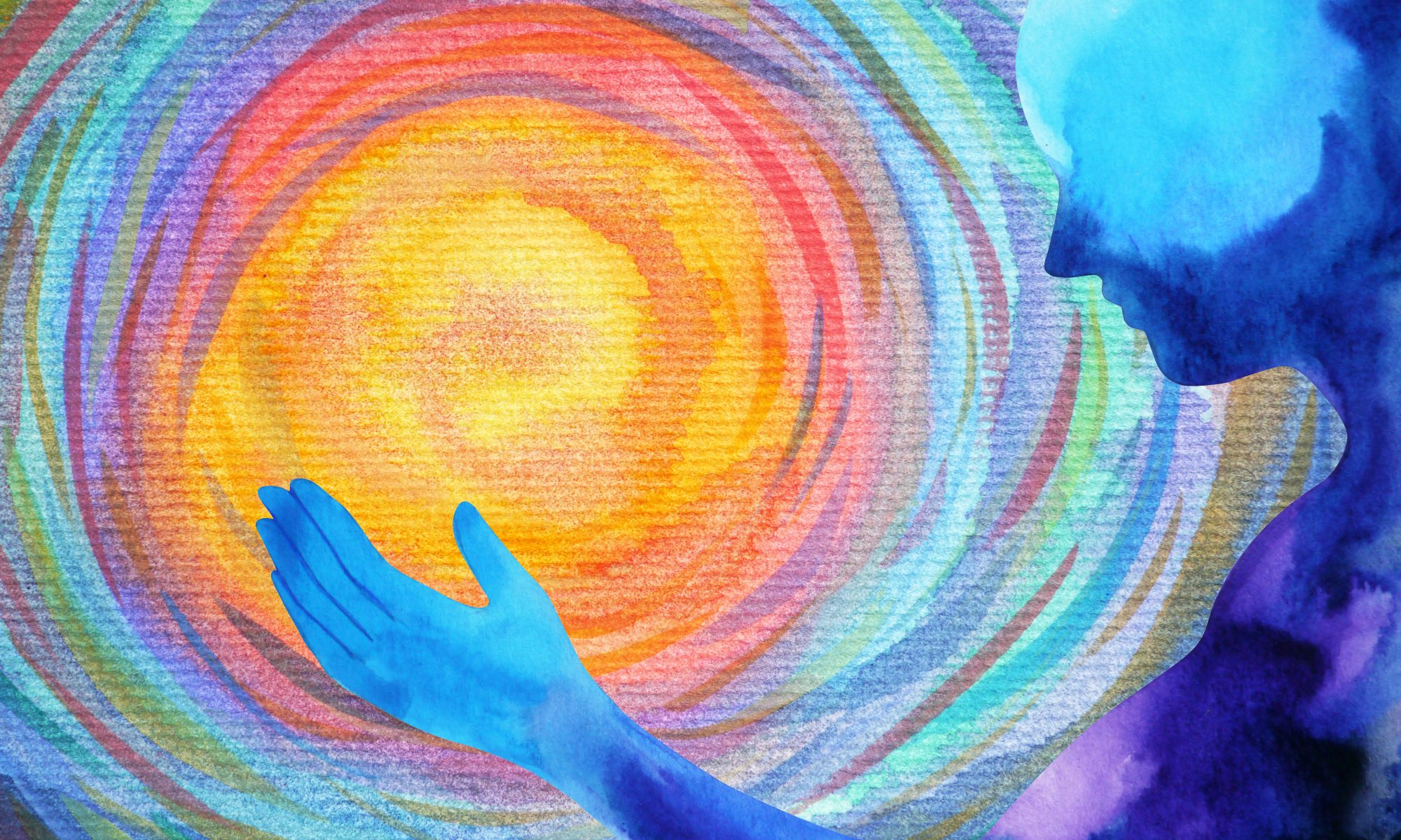 water color painting of a silhouette of a person putting their hand toward a swirl of colors that resemble the sun to represent psychedelics for moral injury